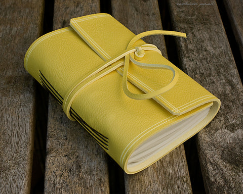 A6 rugged sunshine yellow leather journal - wraparound - earthworks journals - A6W020