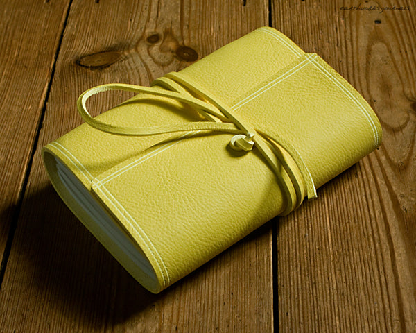 A6 rugged sunshine yellow leather journal 3 - wraparound - earthworks journals - A6W020