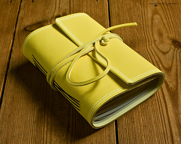 A6 rugged sunshine yellow leather journal 2 - wraparound - earthworks journals - A6W020