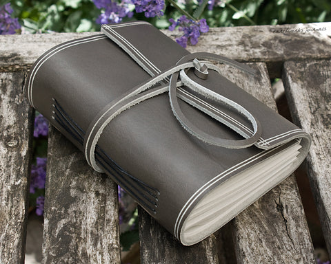 A6 rugged warm grey leather journal - wraparound - earthworks journals - A6W019