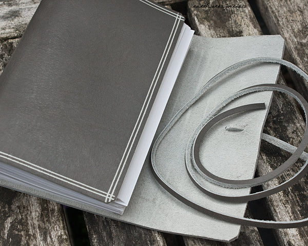 A6 rugged warm grey leather journal 3 - wraparound - earthworks journals - A6W019