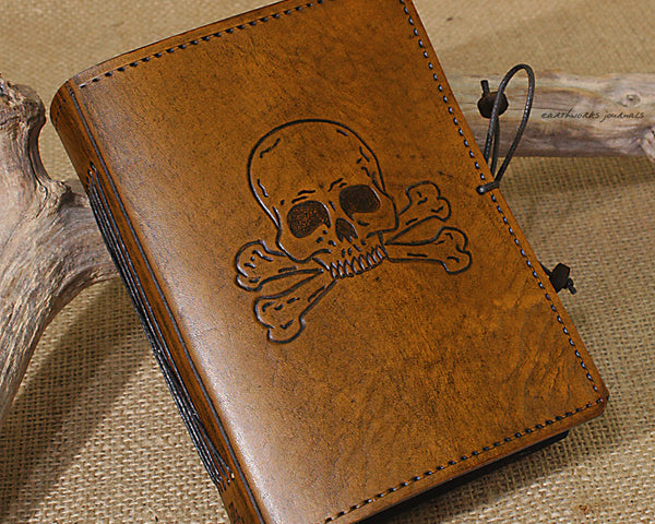 A6 brown leather journal - skull and cross bones - earthworks journals - A6C022