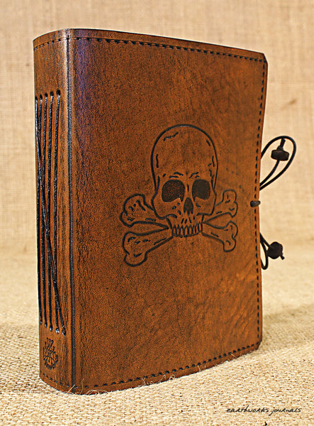 A6 brown leather journal - skull and cross bones 2 - earthworks journals - A6C022
