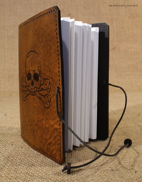 A6 brown leather journal - skull and cross bones open - earthworks journals - A6C022