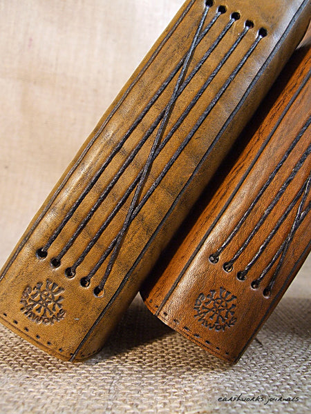 a6 brown leather journal - spines - earthworks journals