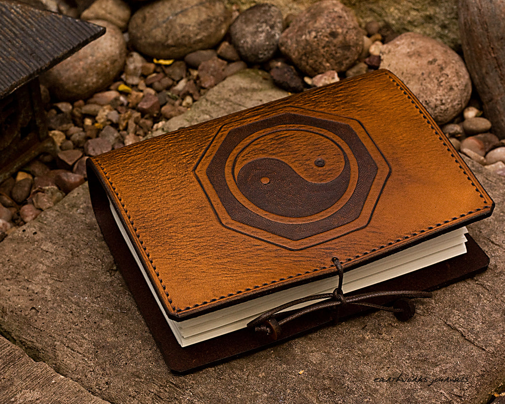 A6 brown leather journal - yin yang tai chi - earthworks journals - A6C019