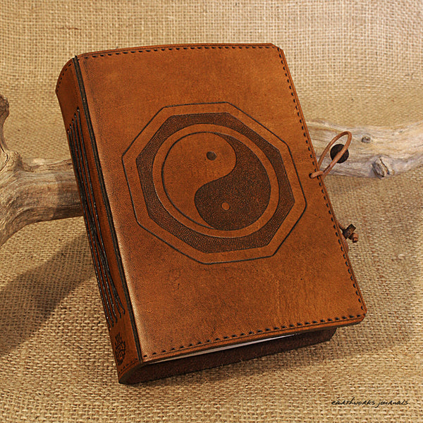 A6 brown leather journal - yin yang tai chi 2 - earthworks journals - A6C019