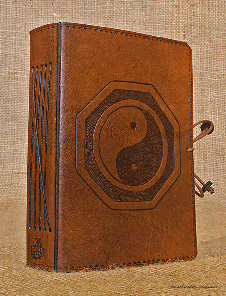 A6 brown leather journal - yin yang tai chi 3 - earthworks journals - A6C019