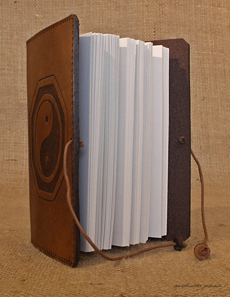 A6 brown leather journal - yin yang tai chi open - earthworks journals - A6C019