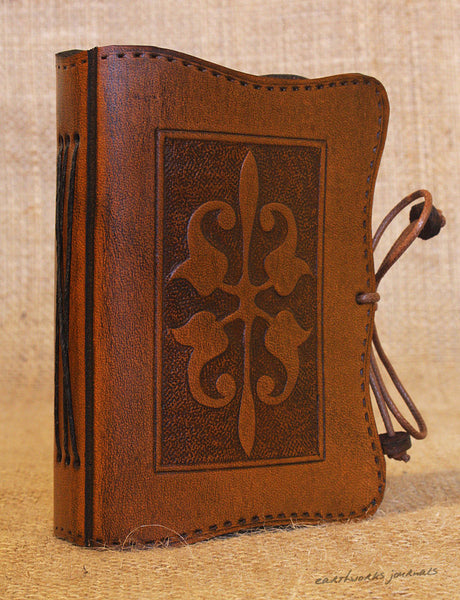 A7 brown leather journal - victorian art nouveau design 2 - earthworks journals - A7C007