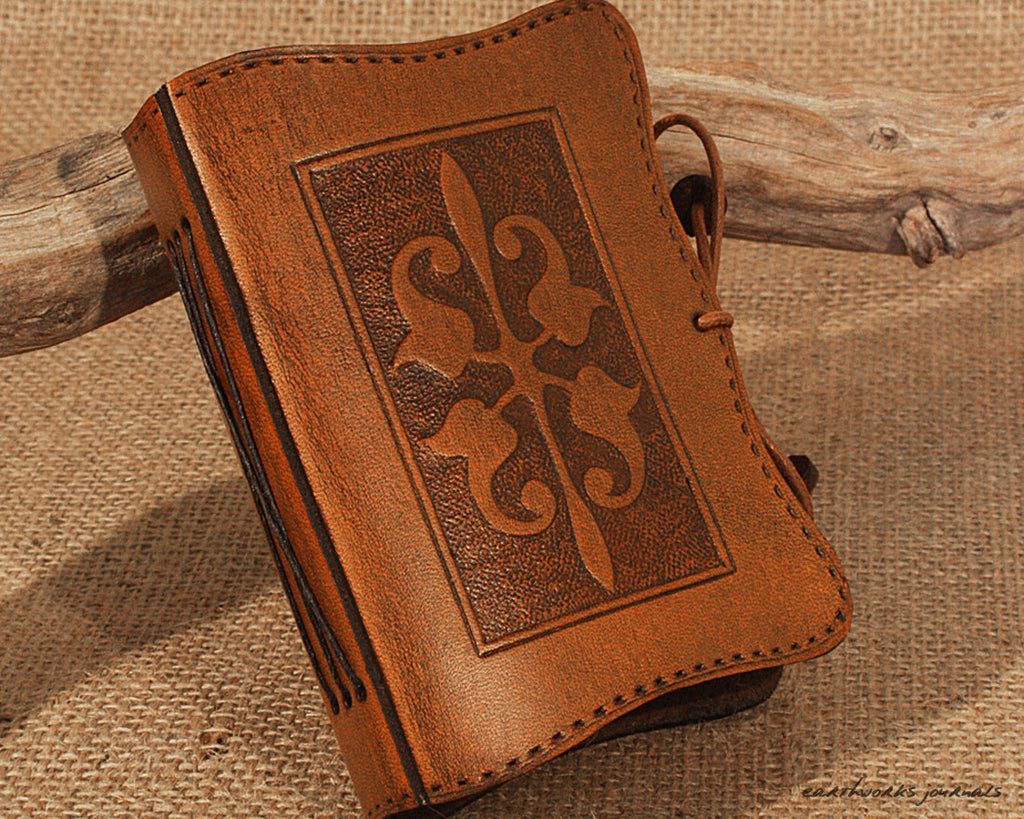 A7 brown leather journal - victorian art nouveau design - earthworks journals - A7C007
