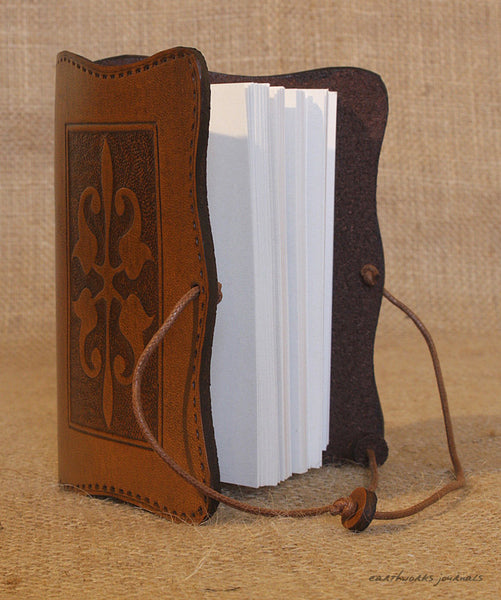 A7 brown leather journal - victorian art nouveau design open - earthworks journals - A7C007