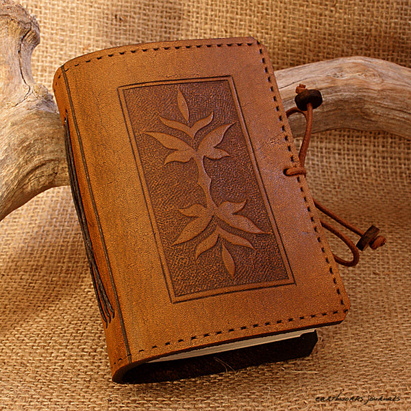 A7 brown leather journal - victorian art nouveau leaf design - earthworks journals - A7C004