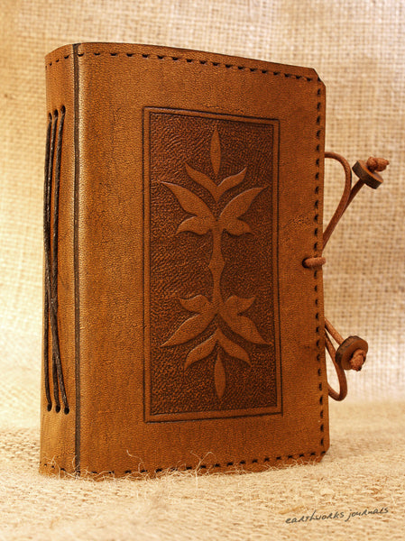 A7 brown leather journal - victorian art nouveau leaf design 2 - earthworks journals - A7C004