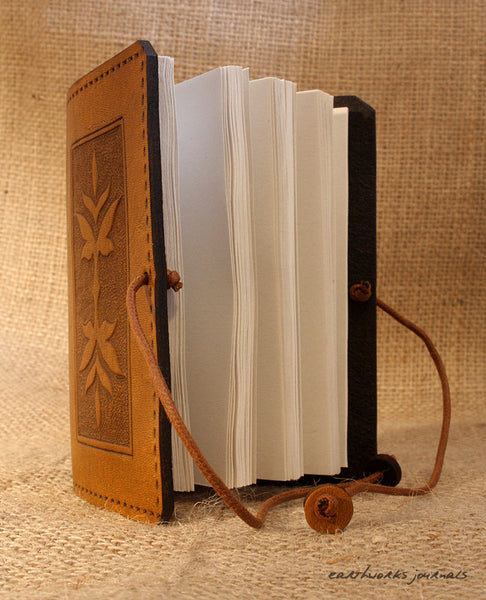 A7 brown leather journal - victorian art nouveau leaf design open - earthworks journals - A7C004