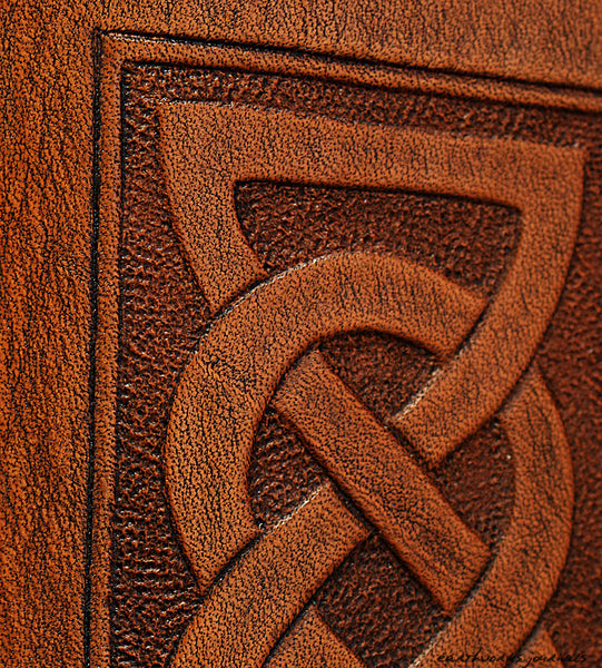 A7 brown leather journal - celtic friendship/lovers knot design detail - earthworks journals - A7C001