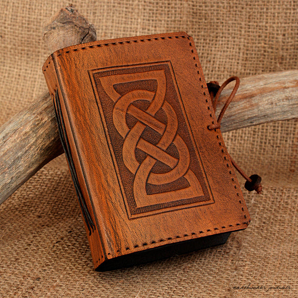 A7 brown leather journal - celtic friendship/lovers knot design - earthworks journals - A7C001