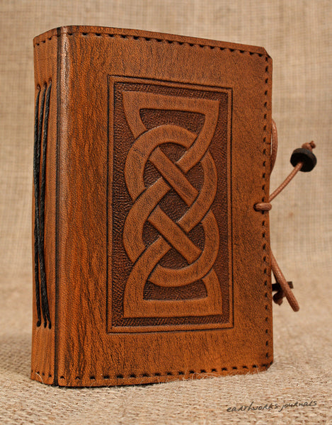 A7 brown leather journal - celtic friendship/lovers knot design 2 - earthworks journals - A7C001