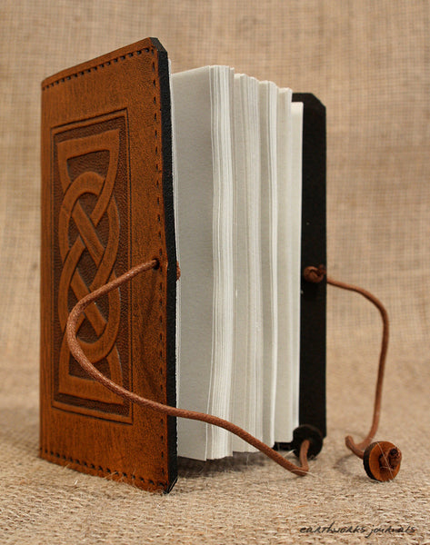 A7 brown leather journal - celtic friendship/lovers knot design open - earthworks journals - A7C001