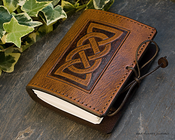 A7 brown leather journal - celtic friendship/lovers knot design 5 - earthworks journals - A7C001