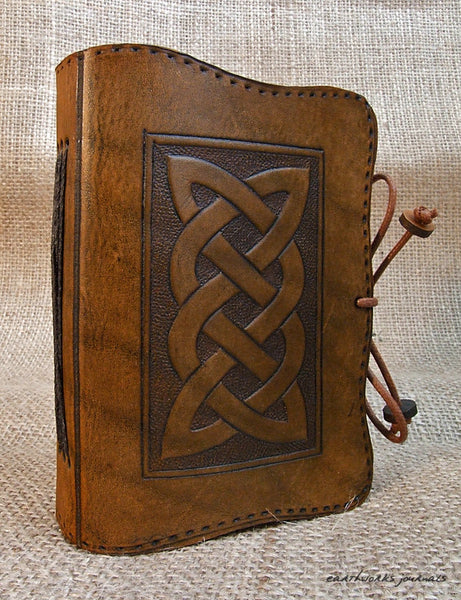 A7 brown leather journal - celtic knot plait design 2 - earthworks journals - A7C003