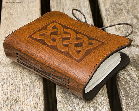 A7 brown leather journal - celtic knot plait design - earthworks journals - A7C003