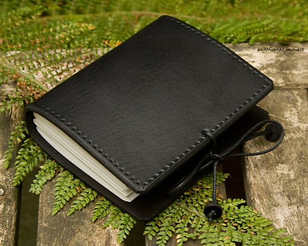 a7 black leather journal - plain classic 2 - earthworks journals A7PC003