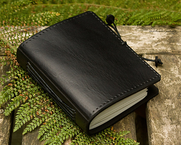 a7 black leather journal - plain classic - earthworks journals A7PC003