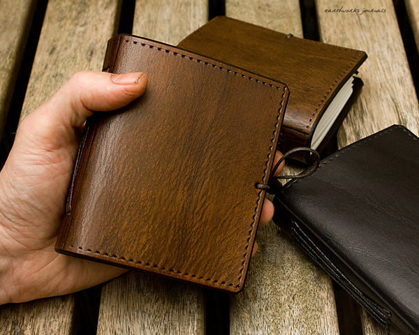 A7 plain classic leather pocket notebook - group - earthworks journals