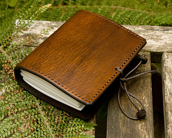 a7 brown leather journal - plain classic 2 - earthworks journals A7PC001