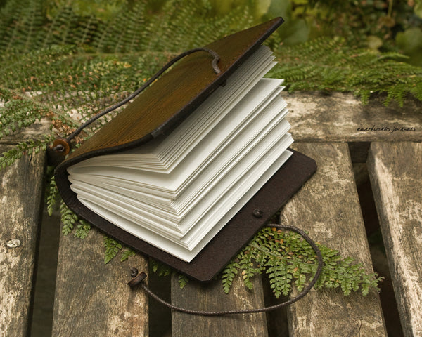 a7 dark brown leather journal - plain classic open - earthworks journals A7PC002