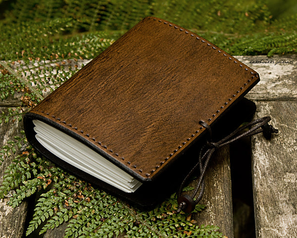 a7 dark brown leather journal - plain classic 2 - earthworks journals A7PC002