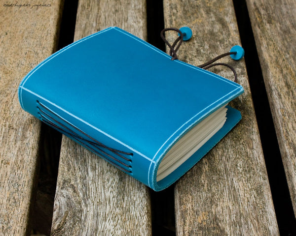 A7 classic sky blue leather journal 2 - plain classic - earthworks journals - A7PC004