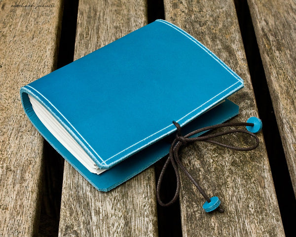 A7 classic sky blue leather journal 3 - plain classic - earthworks journals - A7PC004