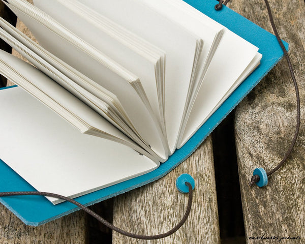 A7 classic sky blue leather journal open - plain classic - earthworks journals - A7PC004