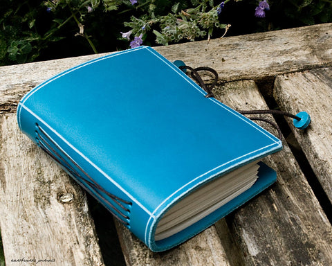 A7 classic sky blue leather journal - plain classic - earthworks journals - A7PC004