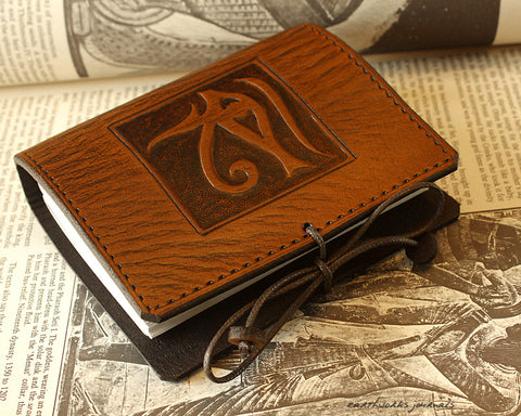 A7 brown leather journal - egyptian eye of horus design - earthworks journals - A7C002