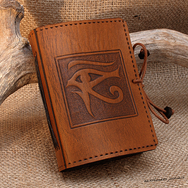 A7 brown leather journal - egyptian eye of horus design 2 - earthworks journals - A7C002