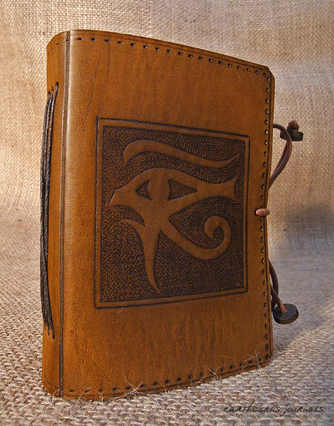 A7 brown leather journal - egyptian eye of horus design 3 - earthworks journals - A7C002