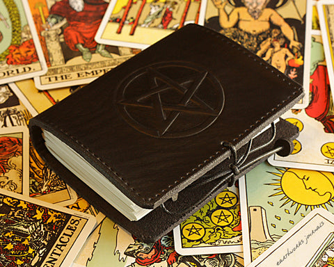 A7 black leather journal - pentagram pentacle design - earthworks journals - A7C006