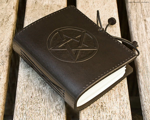 A7 black leather journal - pentagram pentacle design 2 - earthworks journals - A7C006