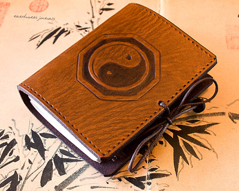 A7 brown leather journal - tai chi - yin yang - earthworks journals - A7C005