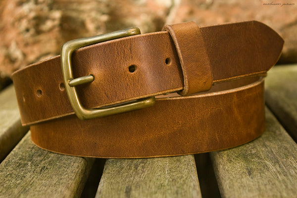 the earthworks classic brown leather belt - earthworks journals - ECLB002