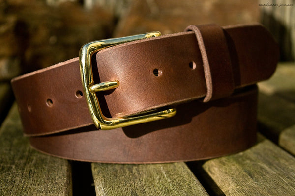 the earthworks classic dark brown leather belt - earthworks journals - ECLB003