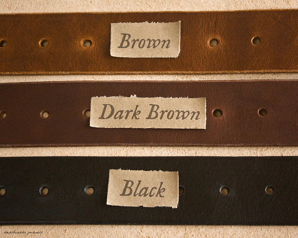 the earthworks class handmade leather belt - colour choices - earthworks journals