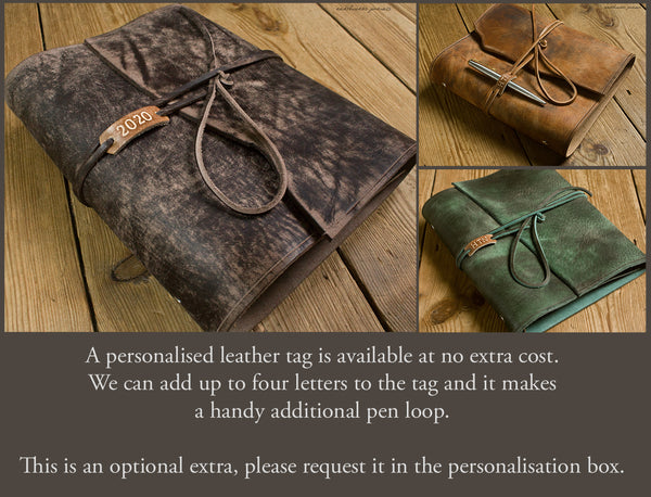 distressed wrap ring binders with personalised tag - earthworks journals
