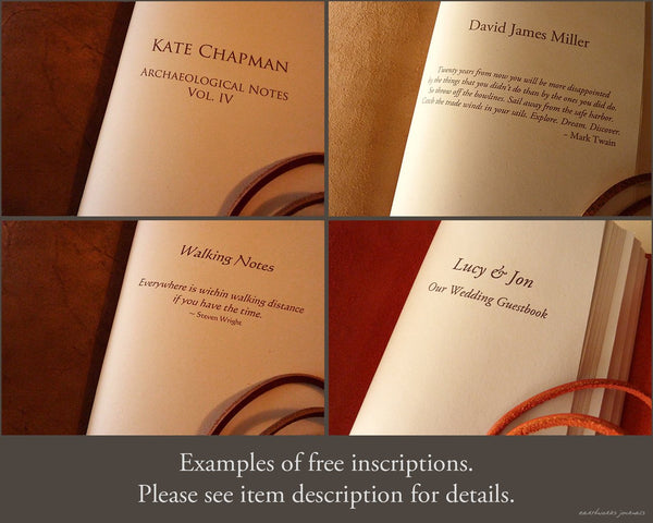 free inscriptions in leather journals - earthworks journals