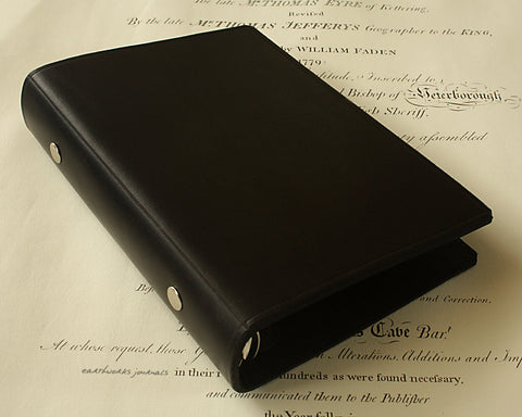 personal size black leather 6 ring binder - organiser - planner - plain classic - earthworks journals PSB001