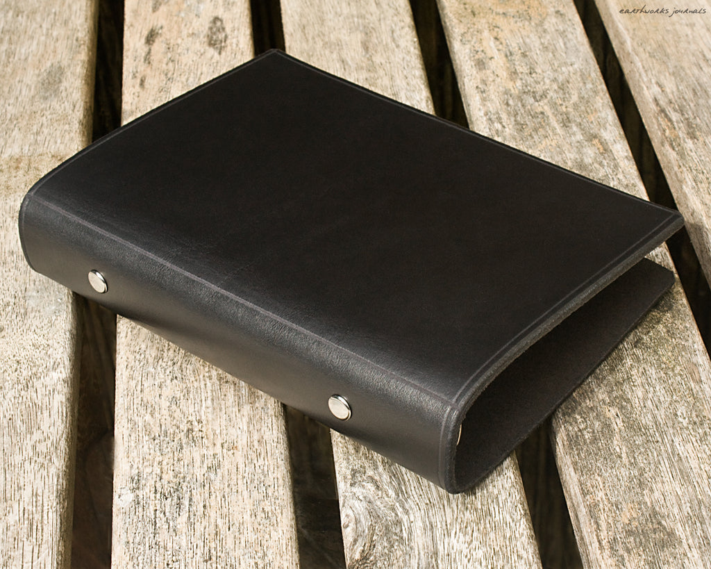 personal size black leather 6 ring binder 2 - organiser - planner - plain classic - earthworks journals PSB001