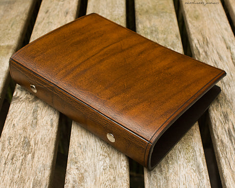 personal size brown leather 6 ring binder - organiser - planner - plain classic - earthworks journals PSB002